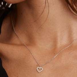 P D Paola CO02-220-U Damen-Halskette Weißes Herz Silber