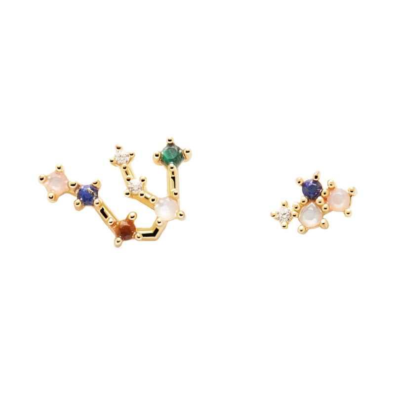 P D Paola AR01-402-U Damen-Ohrringe Sternzeichen Wassermann Silber vergoldet 8435511718366