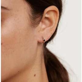 P D Paola AR02-335-U Damen-Creolen Ohrringe Black Solitary Silber