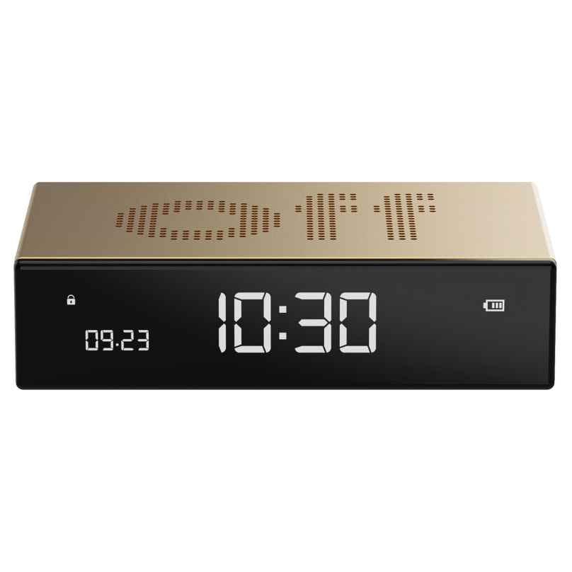 Lexon LR152D Digital Alarm Clock Flip Premium Gold Tone 3660491203402