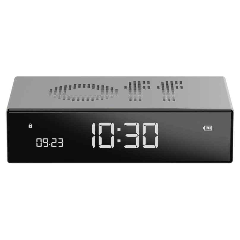 Lexon LR152A Digital Alarm Clock Flip Premium Silver Tone 3660491203389