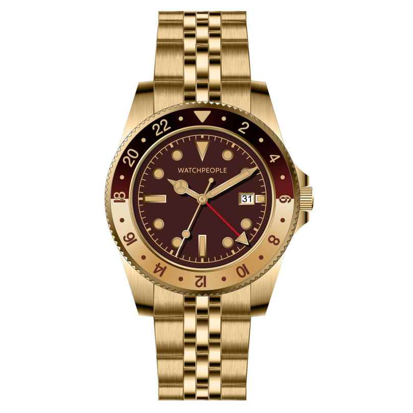Watchpeople BSG023-01 Brown Sugar Herrenuhr Flat Iron Goldfarben/Dunkelrot 4251511707438