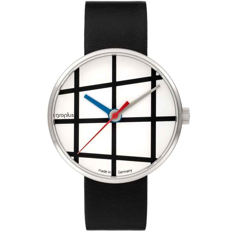 Walter Gropius WG001-01 Wristwatch Window with Leather Strap Black/White 4251511701825