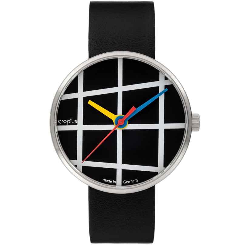 Walter Gropius WG001-03 Armbanduhr Window mit Lederband Schwarz 4251511701849