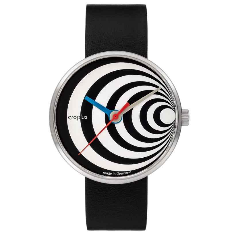 Walter Gropius WG002-02 Uhr in Unisexgröße Excentric mit Lederband Schwarz/Weiß 4251511701900