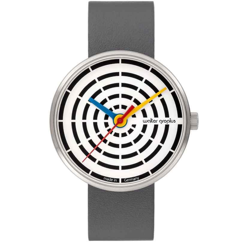 Walter Gropius WG003-01 Design-Armbanduhr Space Loops mit Lederband Grau/Weiß 4251511701962