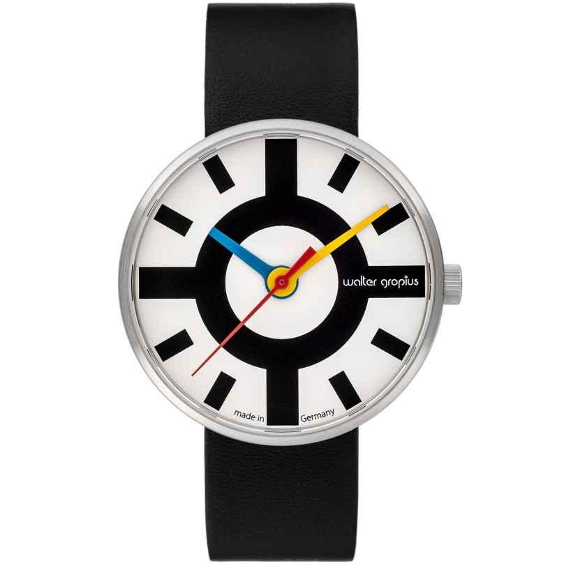Walter Gropius WG006-03 Design Armbanduhr Crossway mit Lederband Schwarz/Weiß 4251511702143