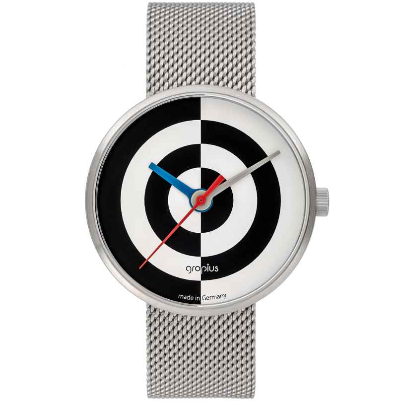 Walter Gropius WG005-08M Armbanduhr J. Albers mit Milanaiseband Schwarz/Weiß 4251511702136