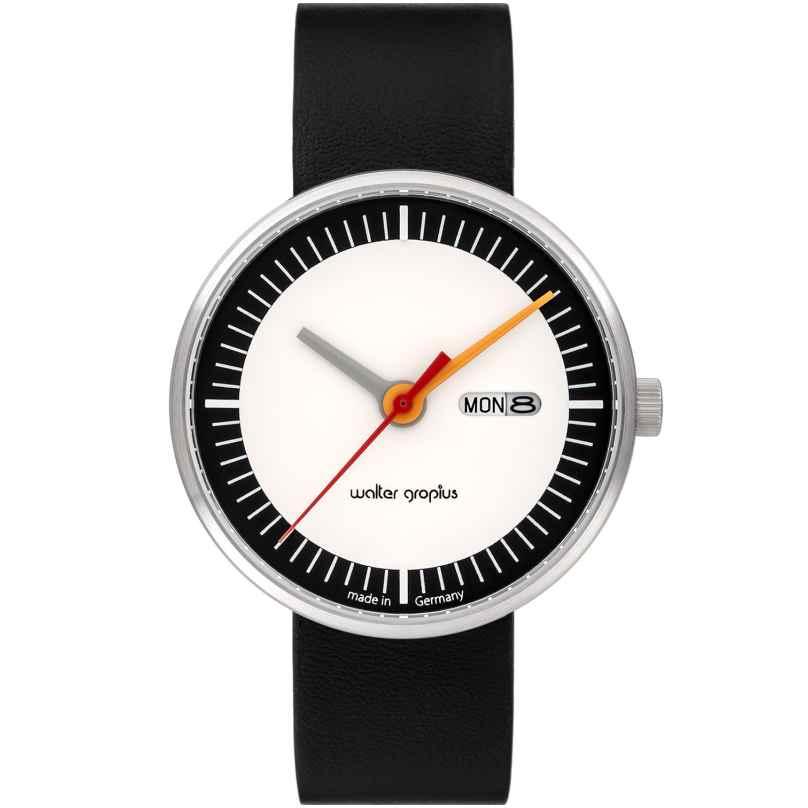 Walter Gropius WG008-01 Unisex-Armbanduhr Classic Date mit Lederband Schwarz/Weiß 4251511702242