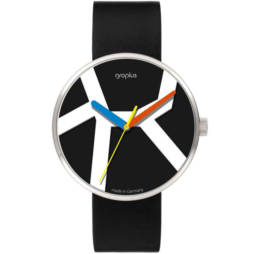 Walter Gropius WG011-02 Unisex Uhr Move mit Lederband Schwarz 4251511703195
