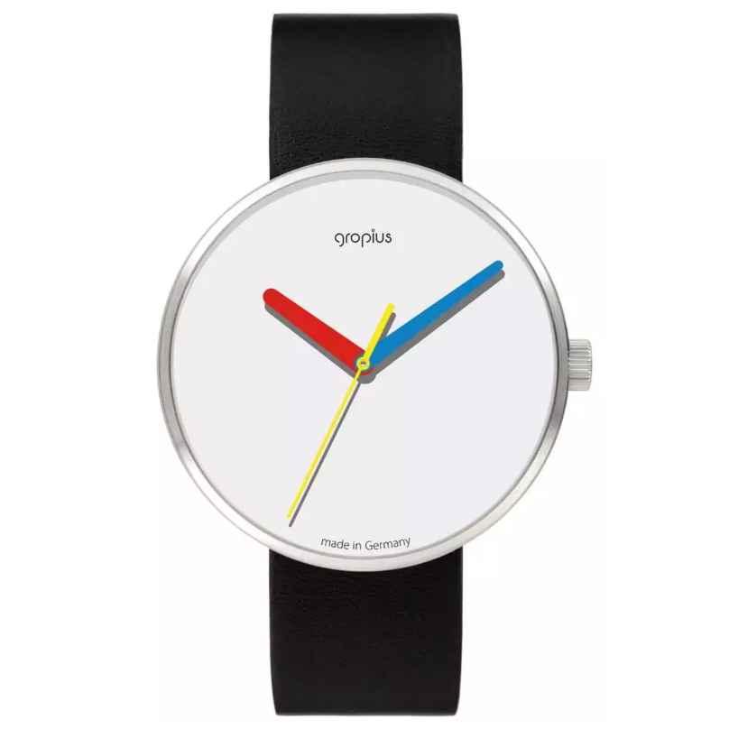 Walter Gropius WG017-01 Armbanduhr Simplex mit Lederband Schwarz 4251511704390