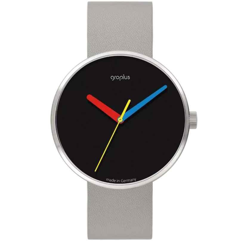 Walter Gropius WG017-02 Uhr in Unisexgröße Simplex mit Lederband Hellgrau 4251511704413