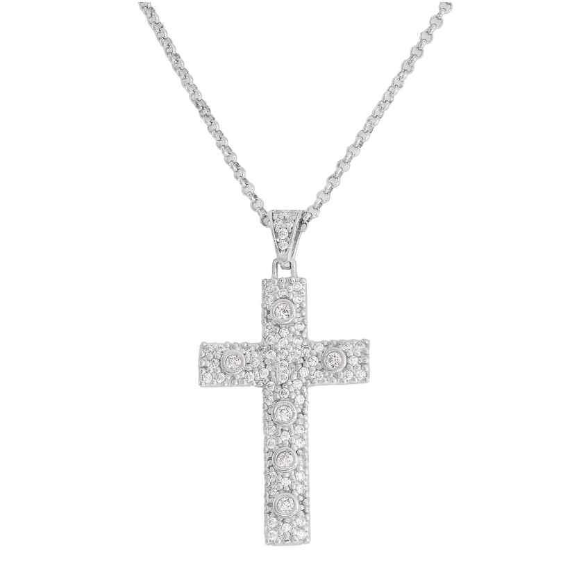 Amen CCZBB Damen-Halskette Kreuz Rosary 925 Silber 8057949021629