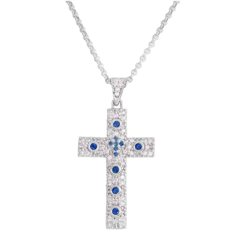 Amen CCZBBL Damen-Halskette Kreuz Rosary Silber/Blau 925 Silber 8057949021643