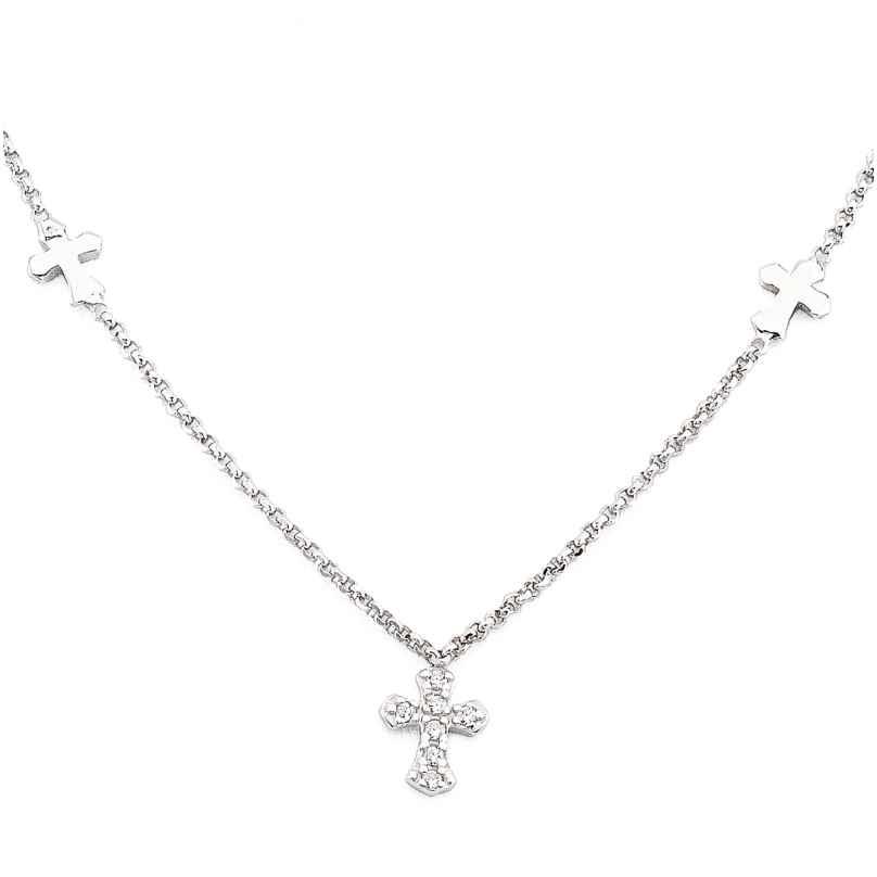 Amen CLCCZB3 Damen-Halskette Kreuz 925 Silber mit Zirkonia 8054719000679