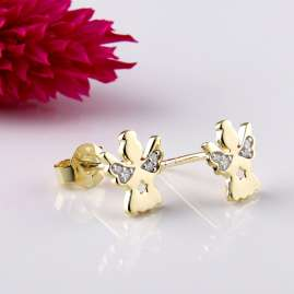 Acalee 70-1010 Earrings for Kids Gold 333 / 8K Angel Cubic Zirconia
