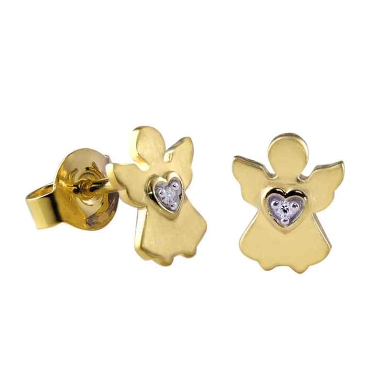 Acalee 70-1011 Kinder-Ohrringe Gold 333 / 8K Engel-Ohrstecker Zirkonia 4260727510619