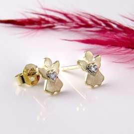 Acalee 70-1011 Kinder-Ohrringe Gold 333 / 8K Engel-Ohrstecker Zirkonia
