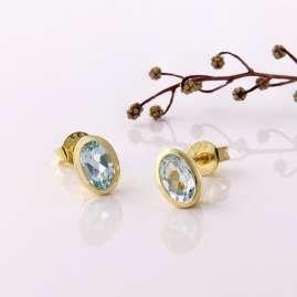 Acalee 70-1014-01 Damen-Ohrringe Gold 333 / 8K Ohrstecker Topas Blau