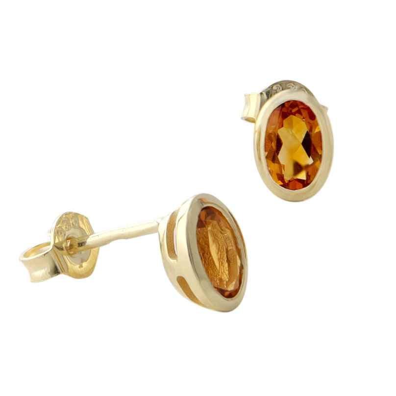 Acalee 70-1014-06 Damen-Ohrringe Gold 333 / 8K Ohrstecker Citrin 4260727512156