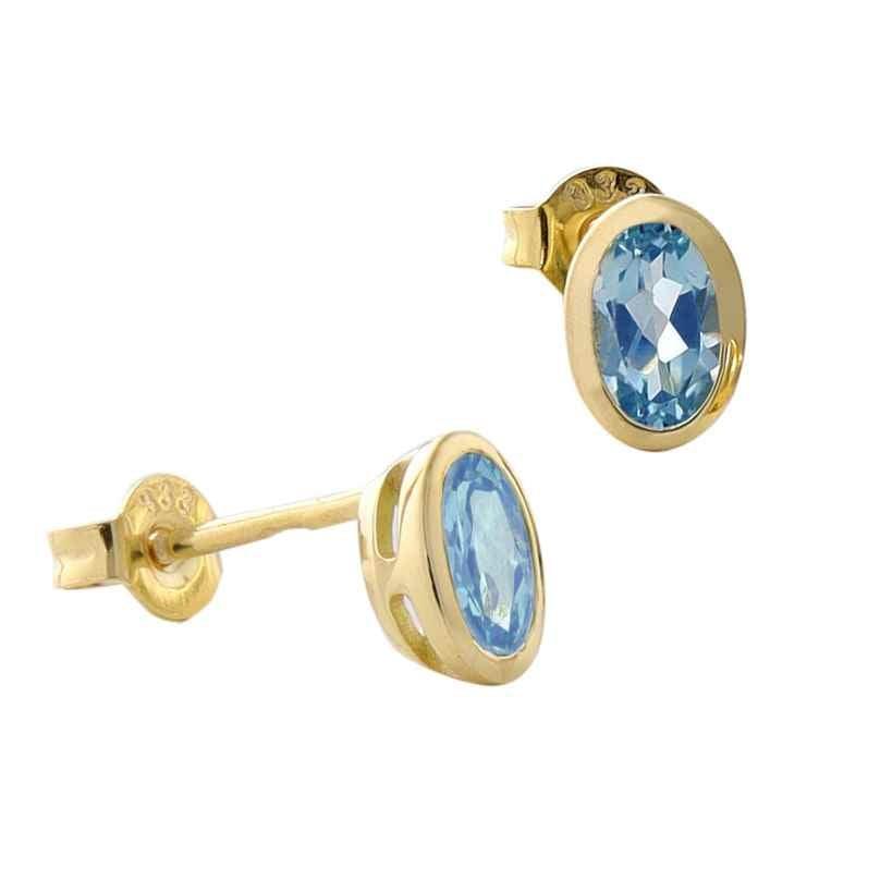 Acalee 70-1014-02 Ohrringe Gold 333 / 8K Ohrstecker Topas Swiss Blau 4260727512118