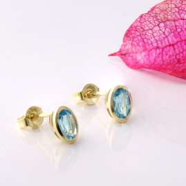Acalee 70-1014-02 Ohrringe Gold 333 / 8K Ohrstecker Topas Swiss Blau