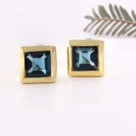 Acalee 70-1018-03 Earrings Gold 333 / 8K with Topaz London Blue