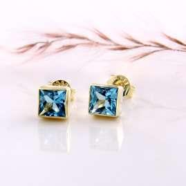 Acalee 70-1025-02 Ohrringe Gold 333 / 8K mit Topas Swiss Blau