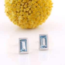 Acalee 70-1023-02 Damen-Ohrringe Weißgold 333 / 8K mit Topas Swiss Blau