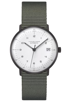 Junghans 027/4005.04 max bill Armbanduhr Kleine Automatik Natoband Grün
