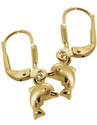 trendor 60941 Gold Mädchen-Ohrringe Delfin