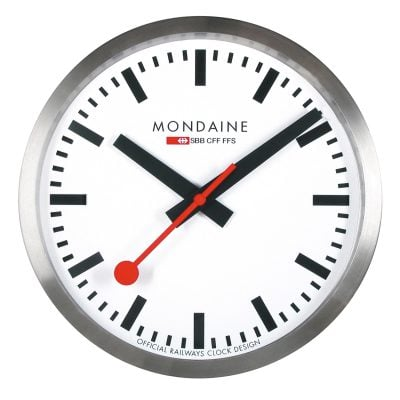 Mondaine A990.CLOCK.16SBB Wanduhr Quarz 25 cm Küchenuhr Silberfarben