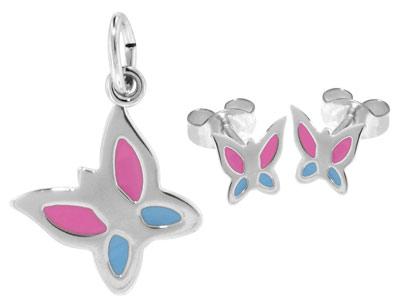 trendor 63935 Silber Kinder-Set Anhänger und Ohrringe Schmetterling