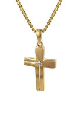 trendor 35728 Kreuz-Anhänger Gold 333 mit goldplattierter Kette für Damen
