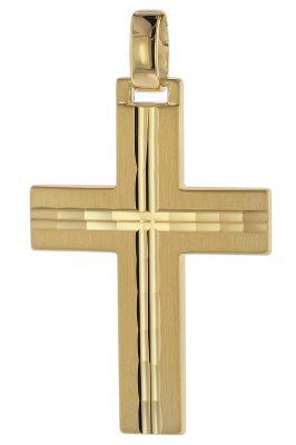 trendor 08823 Kreuz-Anhänger für Männer 585 Gold 32 mm