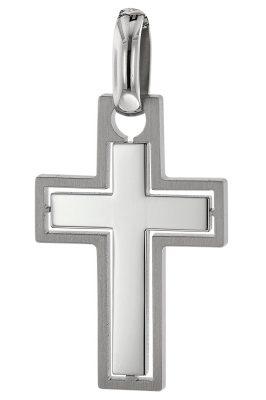 trendor 75074 Anhänger Kreuz für Männer Edelstahl 37 x 20 mm