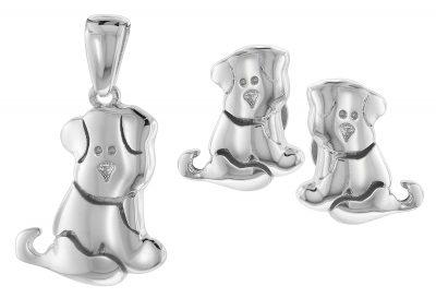 trendor 75597 Schmuck-Set Anhänger + Ohrringe Hund Silber 925