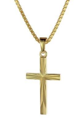 trendor 08512 Kreuz-Anhänger Gold 333/8 Karat 22 mm mit goldplattierter Kette