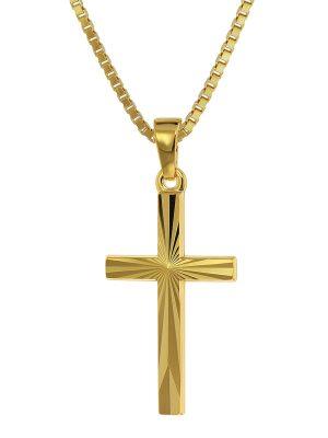 trendor 75435 Kreuz-Anhänger Gold 585 / 14K + goldplattierte Silber-Kette