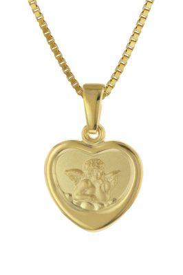 trendor 75713 Halskette mit Schutzengel für Mädchen Gold auf Silber 925