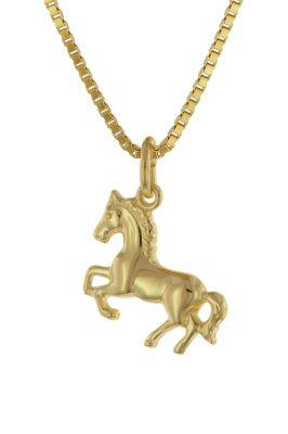 trendor 75715 Mädchen-Halskette mit Pferdchen Gold auf Silber 925