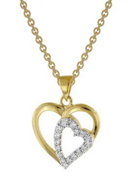trendor 39014 Herz-Anhänger 333 Gold + vergoldete Silberkette