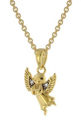 trendor 51144 Engel Anhänger Gold 333 / 8K + vergoldete Silber-Halskette