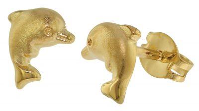 trendor 35769 Kinder-Ohrringe Delfin Gold 333 / 8 Karat Ohrstecker für Mädchen