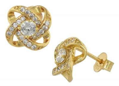 trendor 75841 Ohrringe Gold auf Silber Ohrstecker Knoten Zirkonia