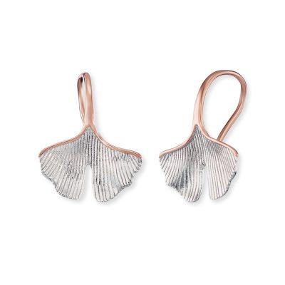Engelsrufer ERE-GINGKO-BIR Damen-Ohrringe Silber Gingko-Blatt roségoldfarben