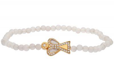 Julie Julsen JJBR0609.3.WQ Armband aus weißem Quarz mit Schutzengel