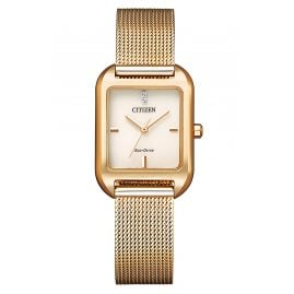 Citizen EM0493-85P Eco-Drive Solar Ladies' Watch Mesh Bracelet Rose Gold Tone