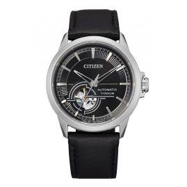 Citizen NH9120-11E Men's Automatic Watch Titanium Leather Strap