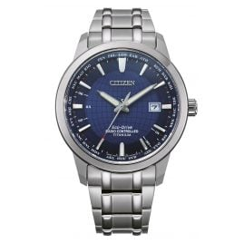 Citizen CB0190-84L Eco-Drive Radio-Controlled Watch for Men Titanium Blue